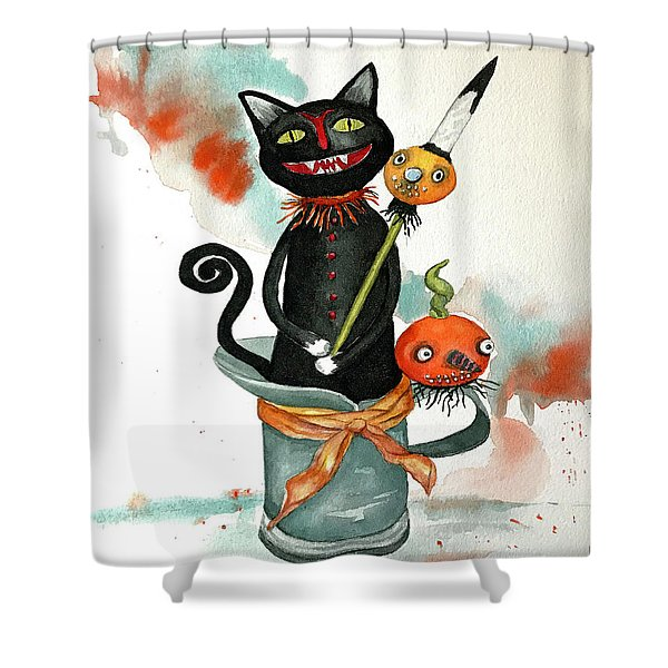 Dracula Vintage Cat Shower Curtain