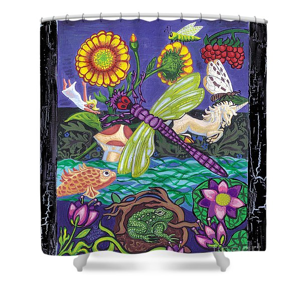 Dragonfly And Unicorn Shower Curtain