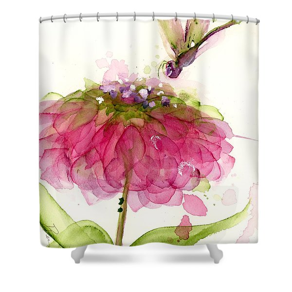 Dragonfly And Zinnia Shower Curtain