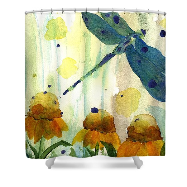 Dragonfly In The Wildflowers Shower Curtain