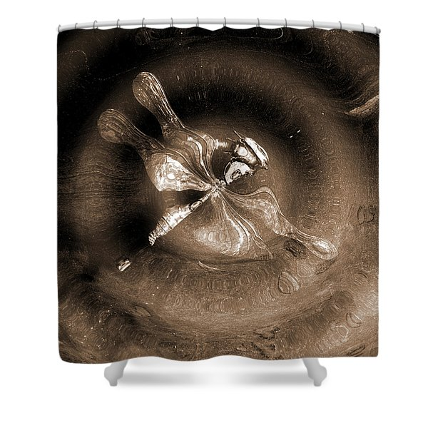 Dragonfly In Water. Shower Curtain