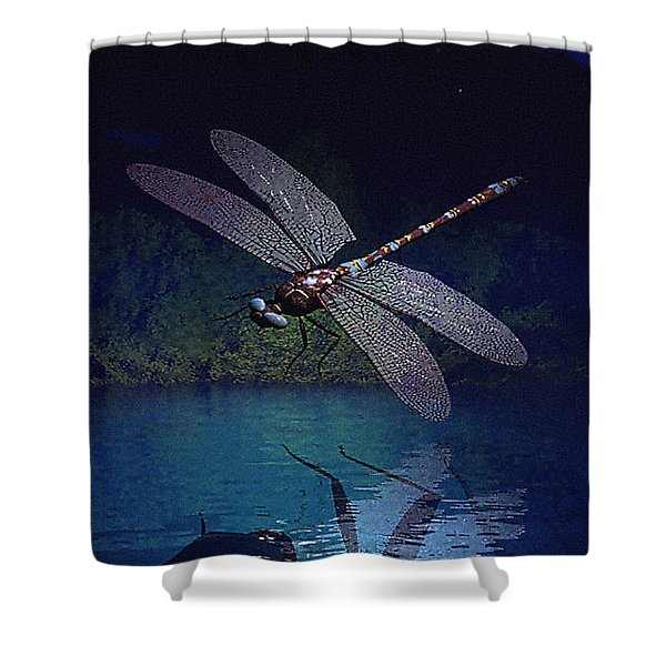 Shower Curtain featuring the digital art Dragonfly Night Reflections by Deleas Kilgore