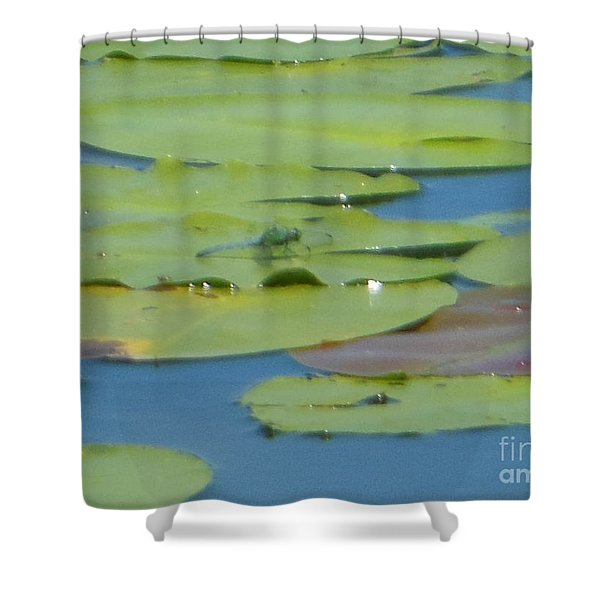 Dragonfly On Lily Pad Shower Curtain
