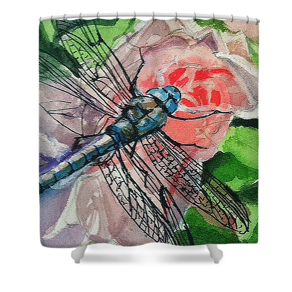 Dragonfly On Rose Shower Curtain