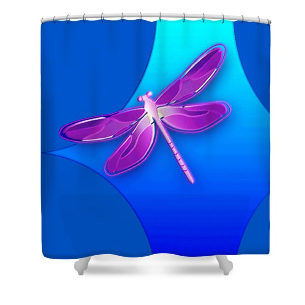 Shower Curtain featuring the digital art Dragonfly Pink On Blue by Deleas Kilgore
