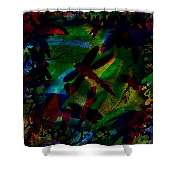 Dragonfly Shower Curtain by Rachel Christine Nowicki