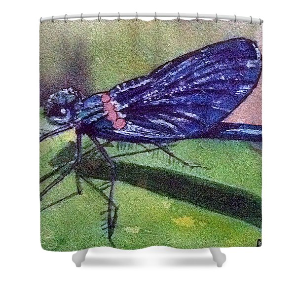 Dragonfly With Shadow Shower Curtain