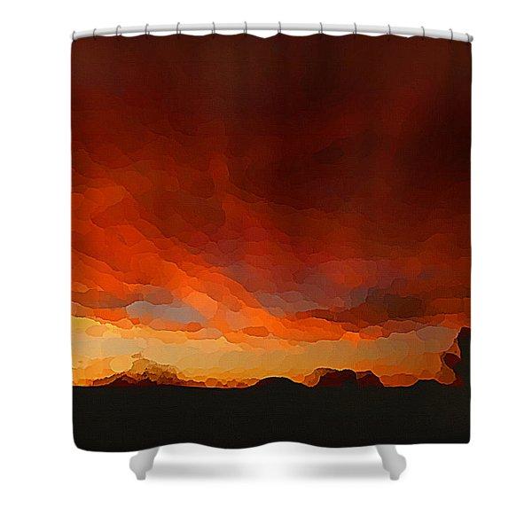 Drama At Sunrise Shower Curtain