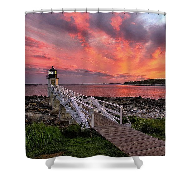 Dramatic Sunset At Marshall Point Lighthouse Shower Curtain