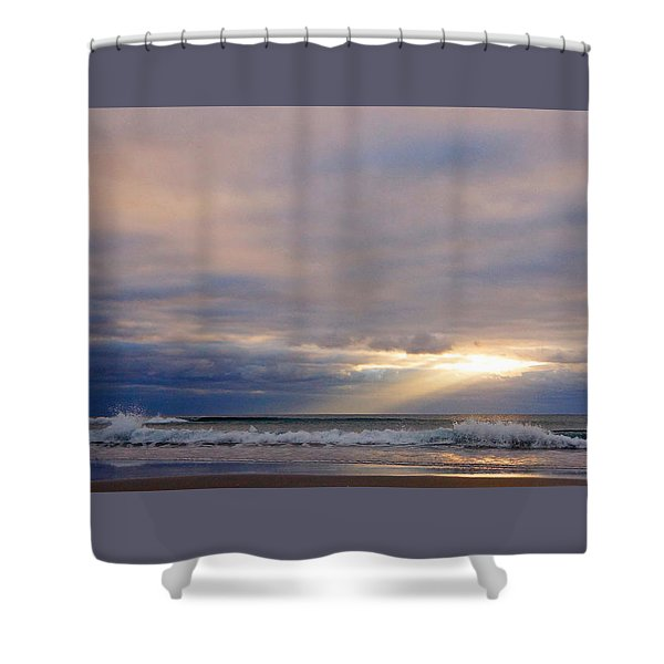 Dramatic Wave Sunrise Shower Curtain