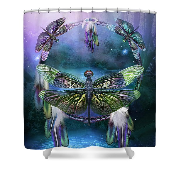 Dream Catcher - Spirit Of The Dragonfly Shower Curtain