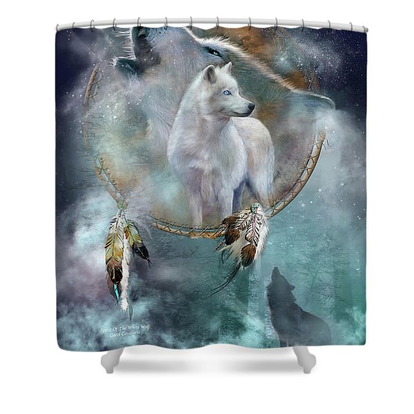 Dream Catcher - Spirit Of The White Wolf Shower Curtain