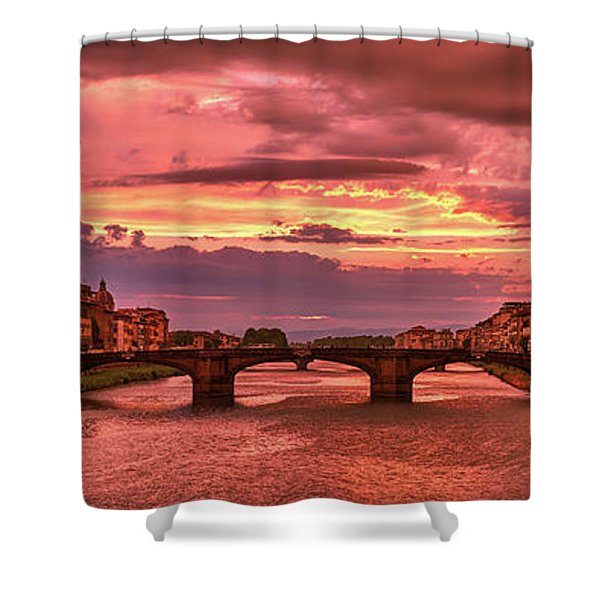 Saint Trinity Bridge From Ponte Vecchio At Red Sunset In Florence, Italy Shower Curtain