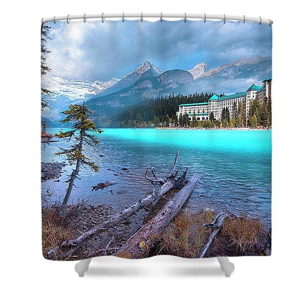Dreamy Chateau Lake Louise Shower Curtain