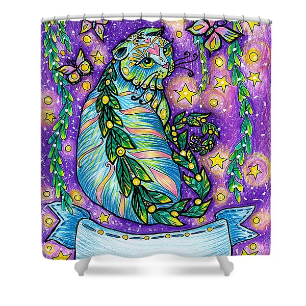 Dreamy Midnight Cat Purple Colored With Coloring Pencils Shower Curtain