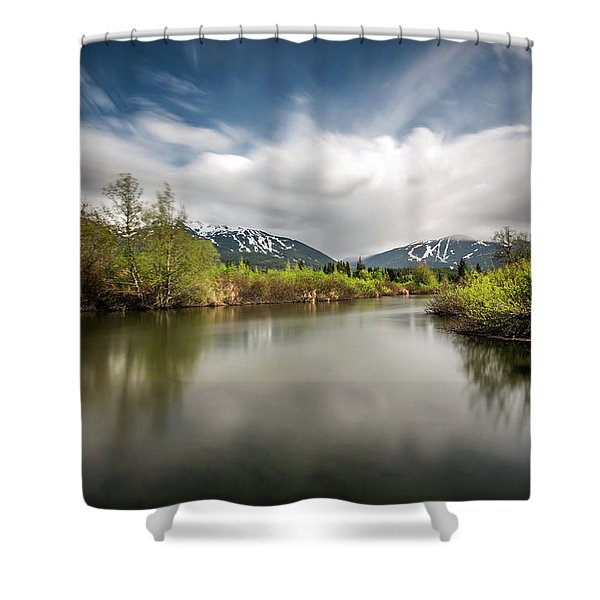 Dreamy River Of Golden Dreams Shower Curtain