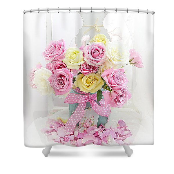 Dreamy Shabby Chic Pink Yellow Roses On White Chair - Vintage Pastel Cottage Pink Roses Home Decor Shower Curtain