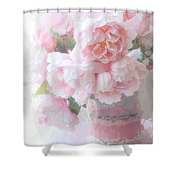 Dreamy Shabby Chic Romantic Pastel Pink Peonies Impressionistic Art - Paris French Peonies Photo Shower Curtain