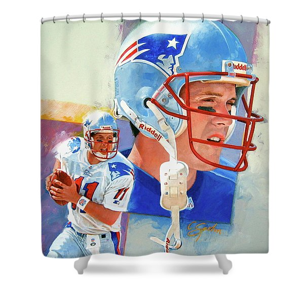 Shower Curtain featuring the painting Drew Bledsoe by Cliff Spohn