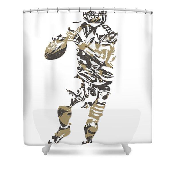 Drew Brees New Orleans Saints Pixel Art T Shirt 1 Shower Curtain