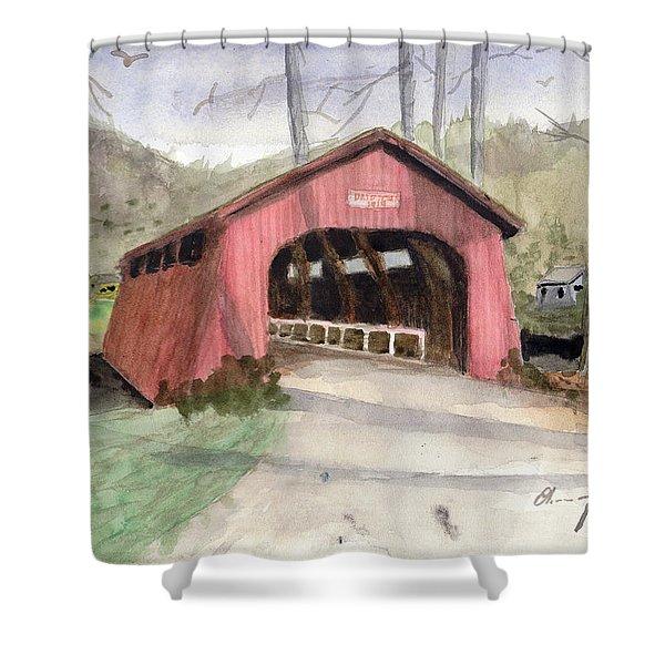 Drift Creek Covered Bridge Watercolor Shower Curtain