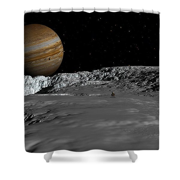 Drilling On Europa Shower Curtain