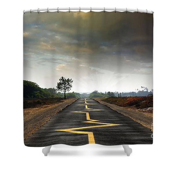 Drive Safely Shower Curtain by Carlos Caetano