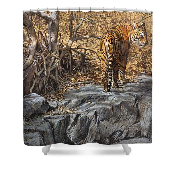Shower Curtain featuring the painting Dry, Hot And Irritable by Alan M Hunt