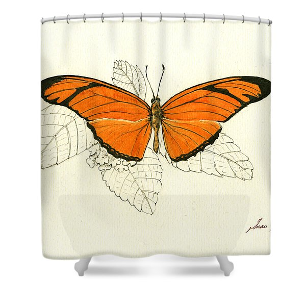 Dryas Iulia, Orange Julia Butterfly Shower Curtain