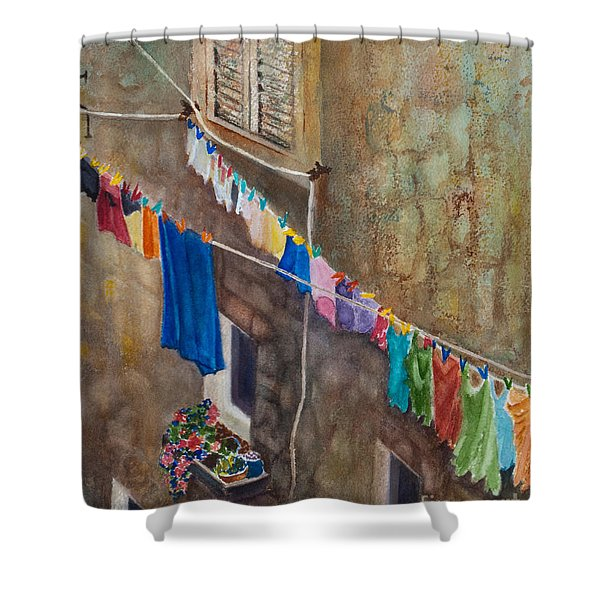 Shower Curtain featuring the painting Drying Time by Karen Fleschler