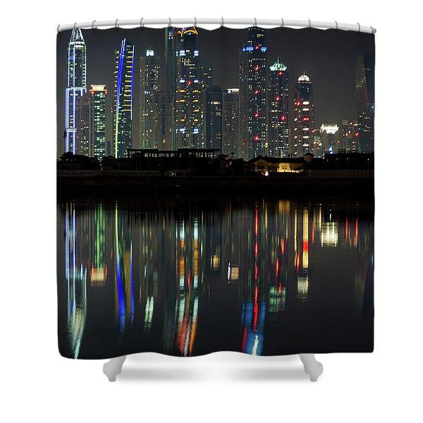 Dubai City Skyline Nighttime  Shower Curtain