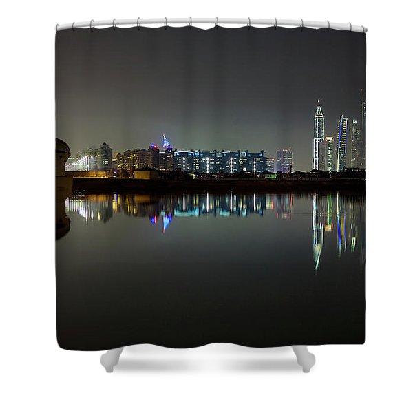 Dubai City Skyline Night Time Reflection Shower Curtain