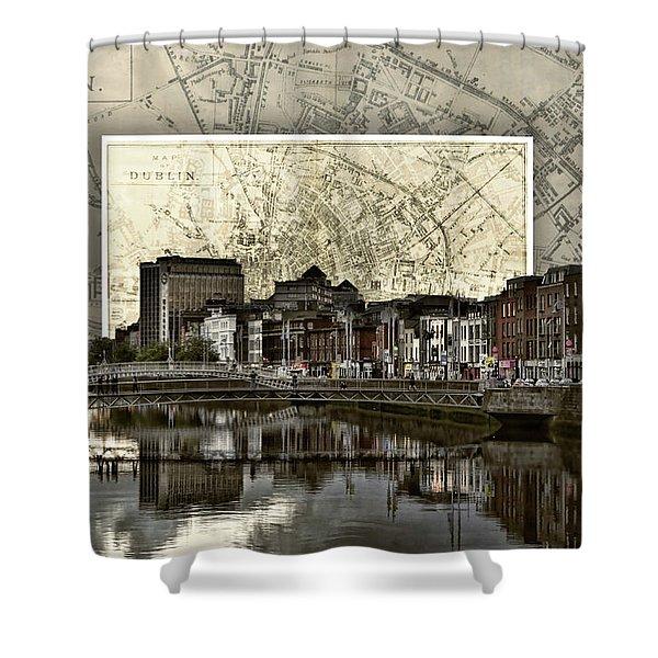 Dublin Skyline Mapped Shower Curtain
