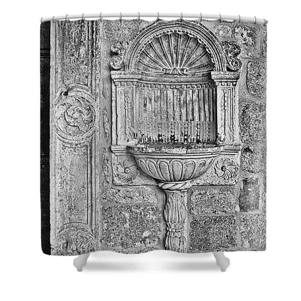 Dubrovnik Wall Art - Black And White Shower Curtain