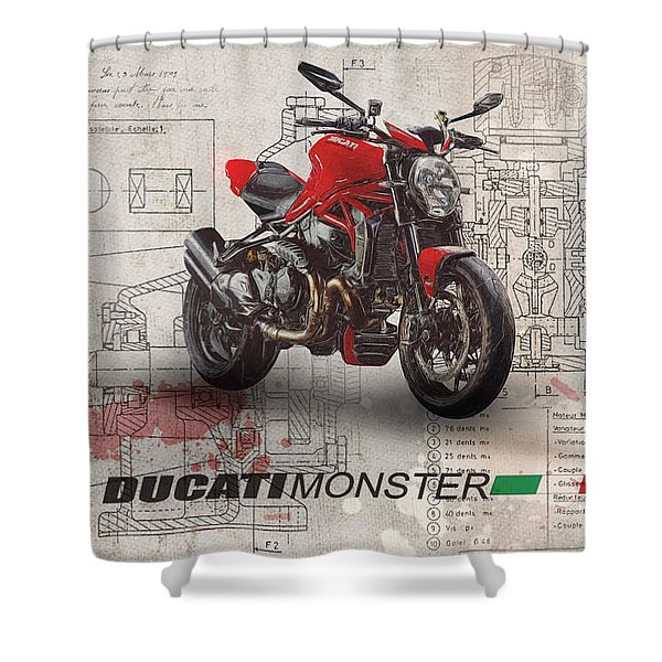 Ducati Monster 1200 R Shower Curtain