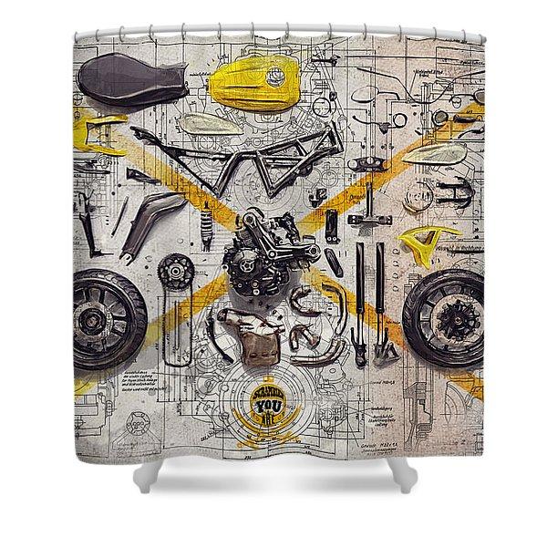 Ducati Scrambler Components Shower Curtain