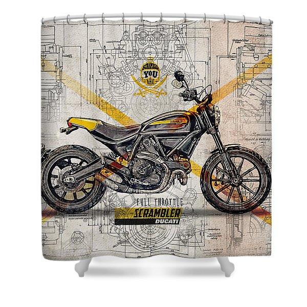 Ducati Scrambler Full Throttle Shower Curtain