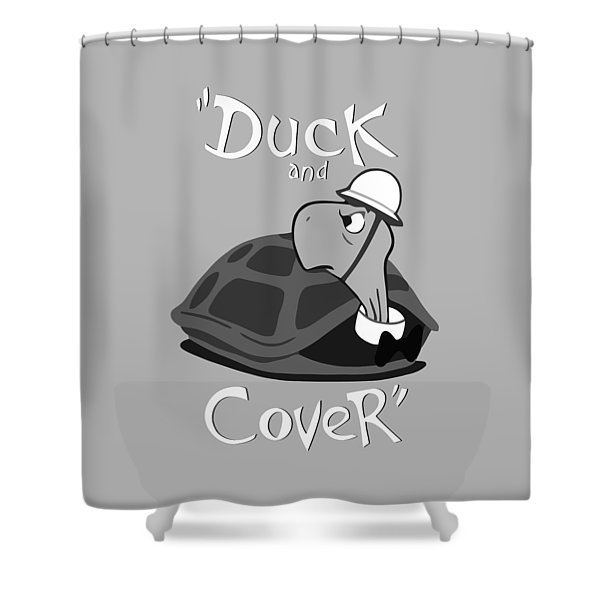Duck And Cover - Vintage Nuclear Attack Poster Shower Curtain