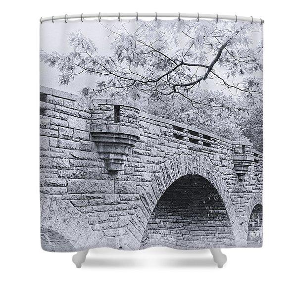 Duck Brook Bridge In Black And White Shower Curtain
