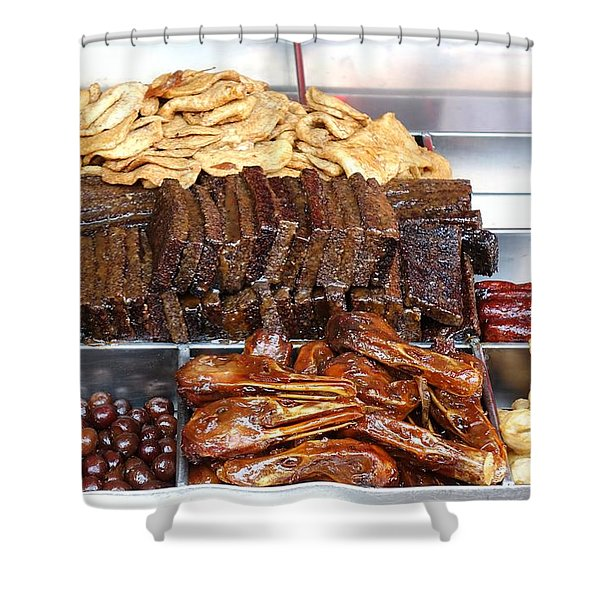 Duck Heads In Soy Sauce And Rice And Blood Cakes Shower Curtain