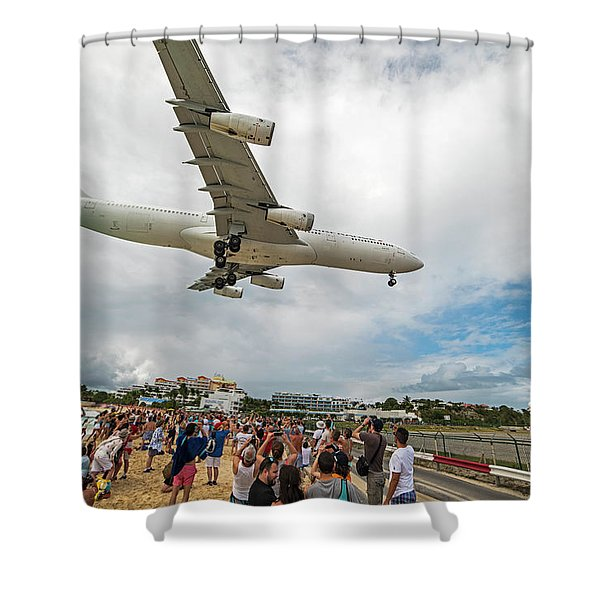 Duck... Landing Over Sunset Beach Saint Martin Caribbean Shower Curtain