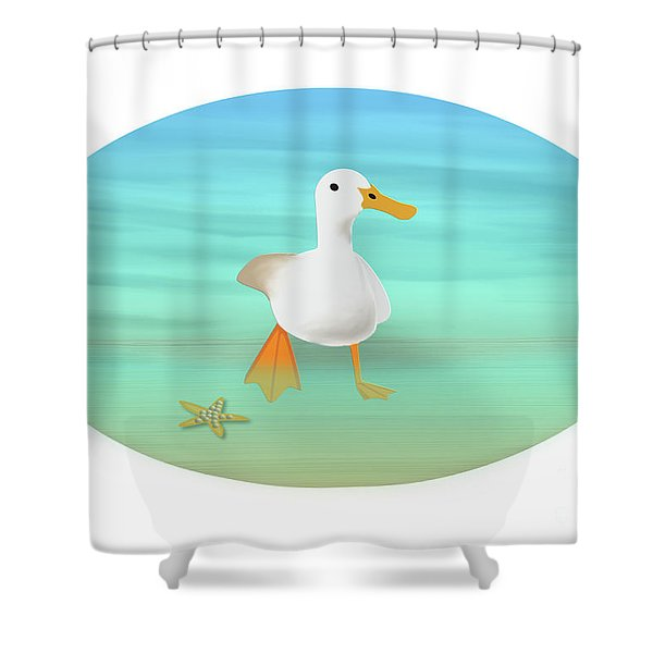 Duck Paddling At The Seaside Shower Curtain