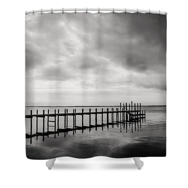 Duck Pier In Black And White Shower Curtain