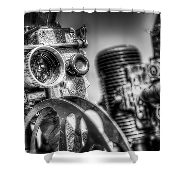Dueling Projectors Shower Curtain