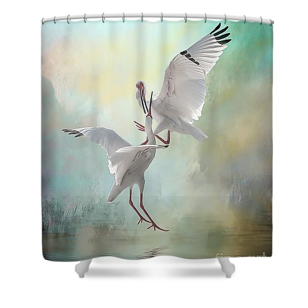 Duelling White Ibises Shower Curtain