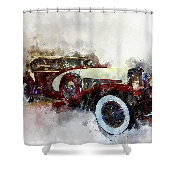 Duesenberg Watercolor Shower Curtain