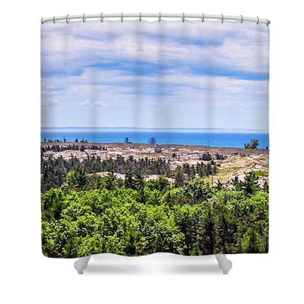Shower Curtain featuring the photograph Dunes Along Lake Michigan by Lester Plank
