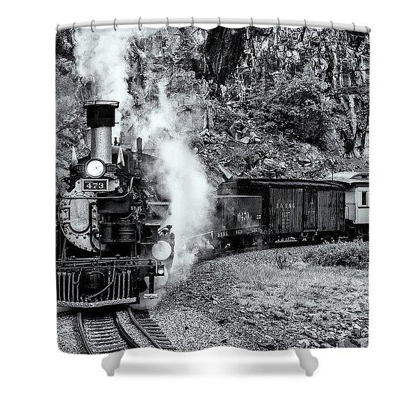 Durango Silverton Train Bandw Shower Curtain