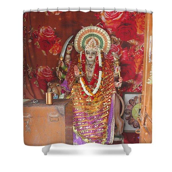 Durga At Neem Karoli Baba Ashram, Vrindavan Shower Curtain