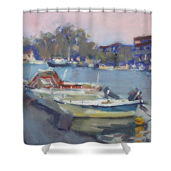 Dusk At Chalkoutsi's Harbor Greece Shower Curtain